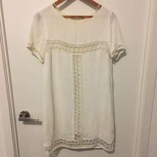 Zara white crotchet dress