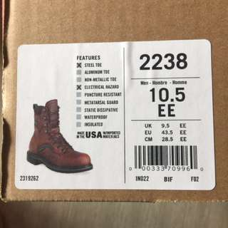 Redwings safety boots size US10.5