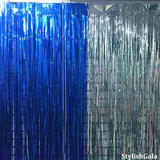 [INSTOCK – FREE POSTAGE] Metallic Blue Tinsel Curtain Garland / Party Streamers Foil Decor Fringe / Photobooth Backdrop