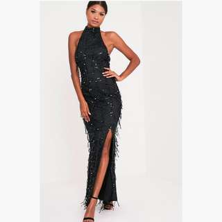 Elegant Formal Dress Black Sequin Halter style split maxi long