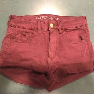 american eagle burgundy shorts