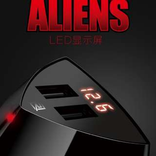 REMAX Alien In Car Charger 3.4A with Dual USB Port , LED display (BLACK)