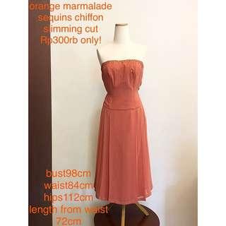 Orange marmalade gown dress cocktail gaun pesta prewed wedding