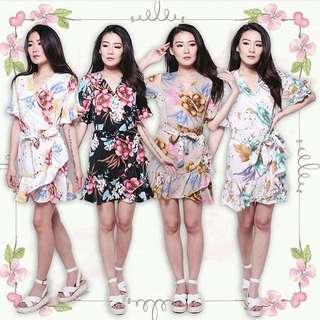 Botanical ruffle dress