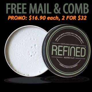 INSTOCKS REFINED SUPPLY Matte Clay Pomade Men FREE MAIL FREE COMB