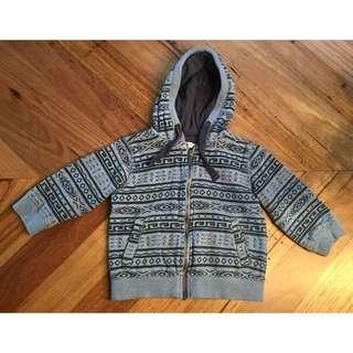 Boys pumpkin patch blue Aztec hoodie jacket, size 3