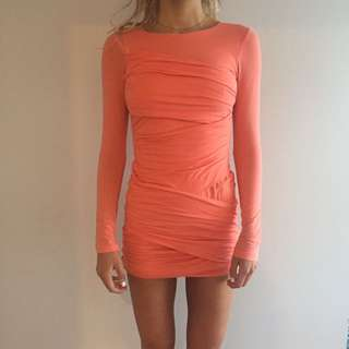 Coral/Orange Kookia long sleeved wrap dress