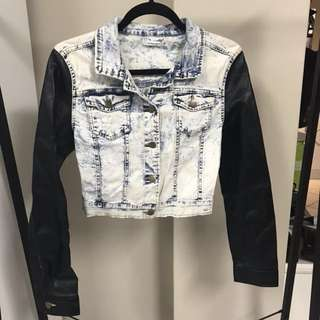 Valleygirl denim leather look jacket - sz small