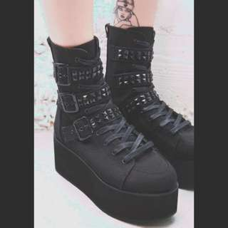 DEMONIA Ridley Platforms New Lace-Up/Buckles