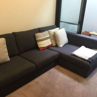 2 seater couch + chaise lounge + ottoman