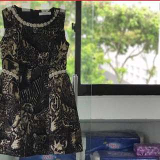 Leopard Embroidery Party Dress