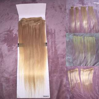 Bleach blonde human hair extensions