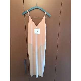 Pink midi sheer overlay dress Bnwt size M