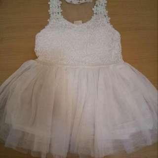 全新 無袖女花童服女童表演服 童裝洋裝 小花蕾絲