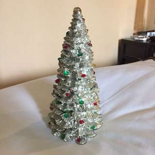 Silver ceramic accent Christmas tree