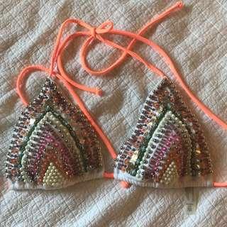 Victoria's Secret beaded tribal bikini top size large
