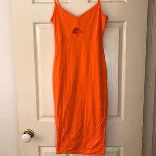 Kookaï bright orange pencil dress