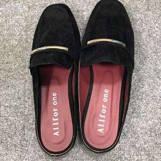 限時優惠190(今日免運活動)全新未落地 韓風懶人拖鞋 黑 40號