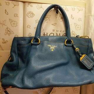 Prada blue leather