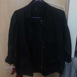 Black bomber biker jacket