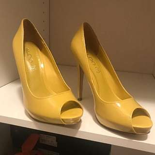 Aldo Yellow Leather Peep Toe Heels