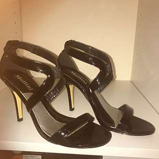 Mollini Strappy Black Patent Leather Heels