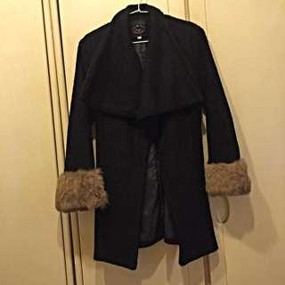 [出清品]韓貨 黑毛絨手袖外套 保暖又有型