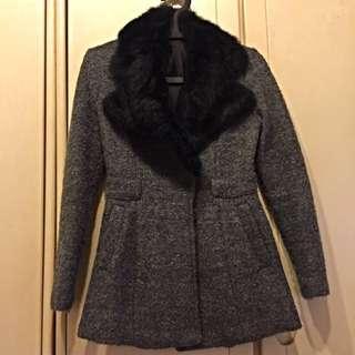 [出清品]韓版灰色黑絨毛外套 時尚款