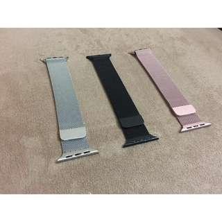 (包平郵) 全新 Apple Watch 錶帶 黑色 銀色 玫瑰金 米蘭尼斯 Milanese Loop Apple Watch Band 42mm 38mm 非原裝
