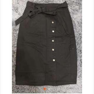 全新alady簡潔知性側排扣綁帶中長裙