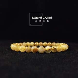 [Natural Crystal] 天然嚴選「滿絲鈦晶」手珠/髮絲濃密/企業老闆最愛/尺寸:7mm 重:13g