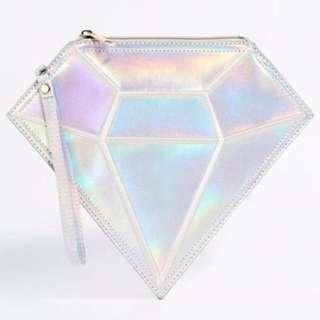 🇬🇧名品牌Daisy Street情人節鑽石形狀 超大造型手拿包 類3D視覺立體感潮包 現貨霧面銀色