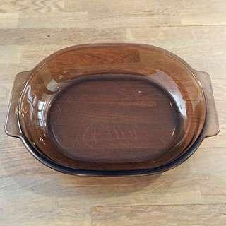 2X PYREX Corning Oval Brown Glass Dish
