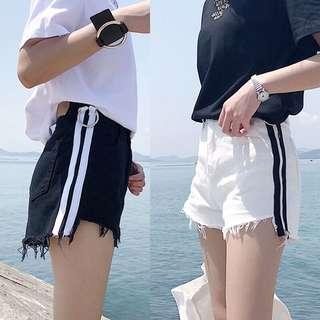 韓系高腰牛仔不收邊短褲