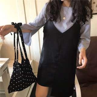 五分袖圓領條紋襯衫+裙擺不規則吊帶連身裙