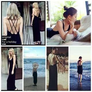 30I9(38667)度假沙灘裙性感長款吊帶背心露背長裙洋裝連身裙(單色黑色)