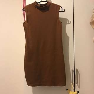 Cowboy brown turtle neck dress