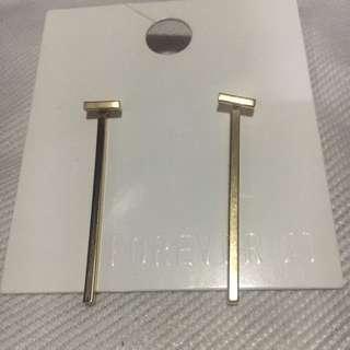F21 Gold Bar Earrings