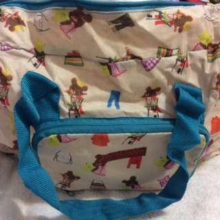 可折疊帆布小熊學校行李袋
