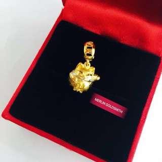 916 Gold Fortune Cat Charm / Pendant / 招财进宝招财猫吊坠