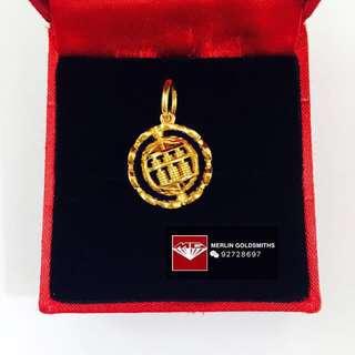 916 Gold  360°C Rotate Coin Abacus Pendant / 916 黄金 360°C 旋转金钱算盘吊坠