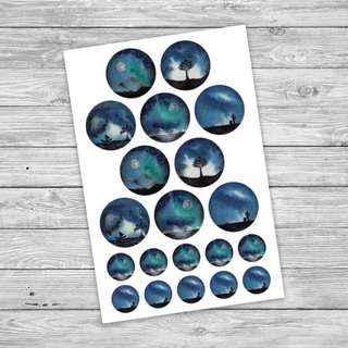 Circle Landscape Clear Sticker Set