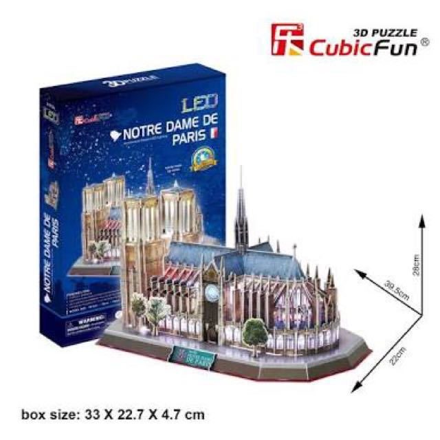 3D Puzzle Cubic Fun LED-Lighting Notre Dame De Paris