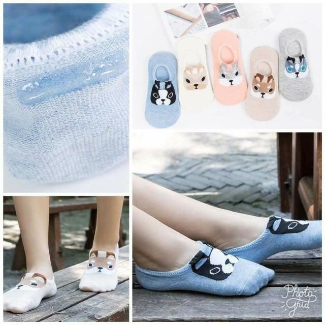 新品全棉卡通狗隱形船襪(5雙組)