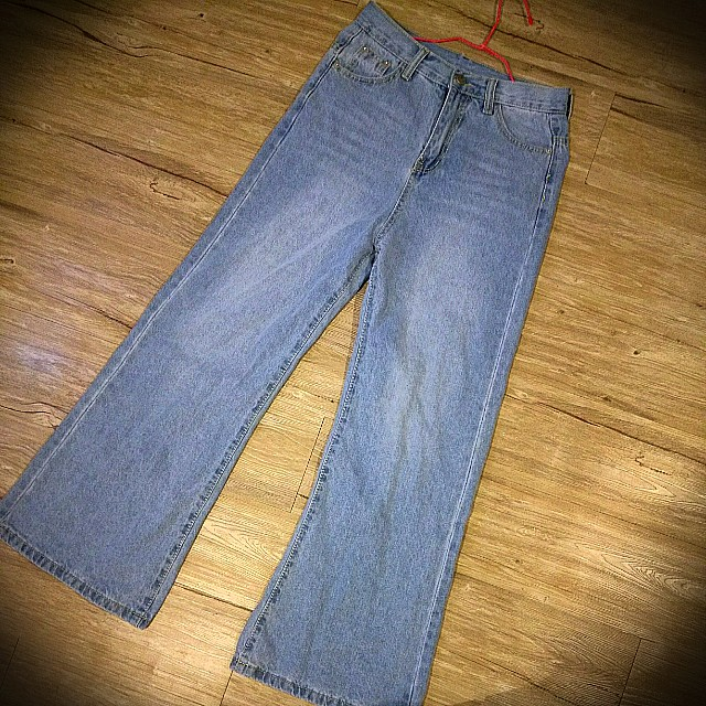 韓版牛仔寬褲M