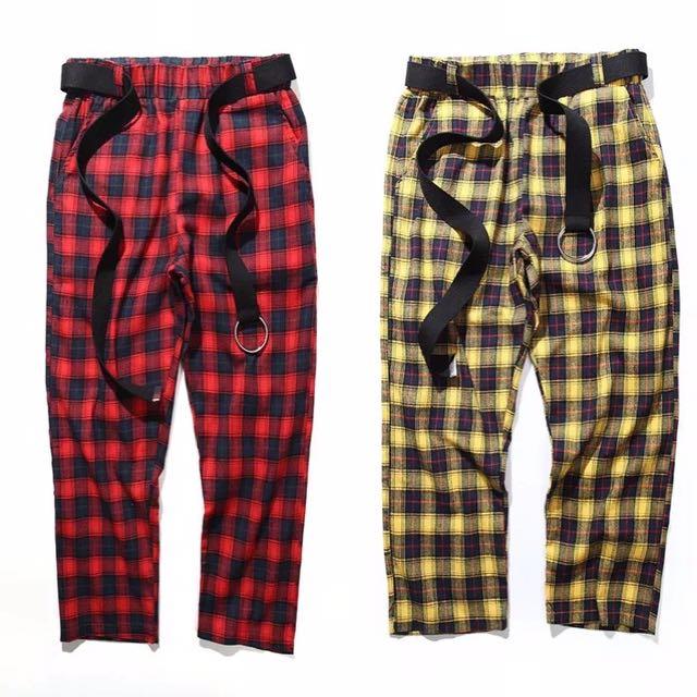 👻格紋法蘭絨材質寬鬆直筒九分褲👻