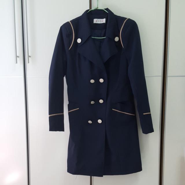 棉質中長版風衣外套