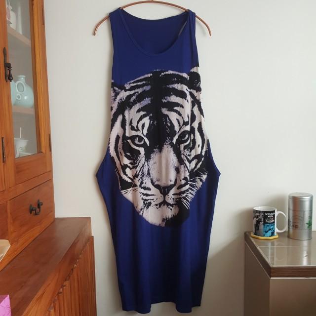 獅子圖案棉質休閒洋裝