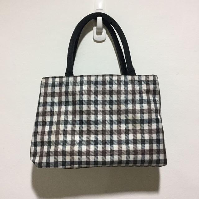 格紋雙層手提包