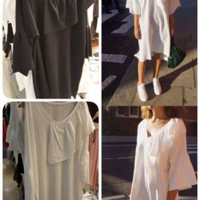 二手便宜賣👏🏻 正韓🇰🇷白色造型休閒洋裝